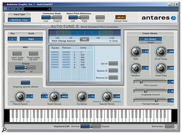 The new-look Auto mode interface for Auto-Tune features Humanise and Natural Vibrato controls.