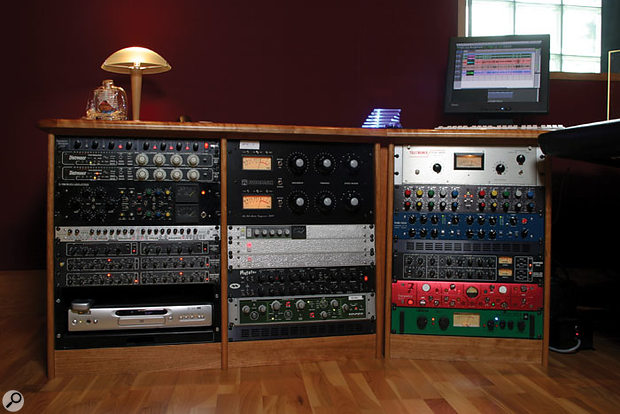 As you would expect, the studio contains some of the finest processors in the world, including an SPL Transient Designer, two Empirical Labs Distressors, an Audio & Design F760XRS compressor/limiter/expander, a Focusrite Platinum Compounder, a Drawmer LX20 dual expander/compressor and two DS201 dual gates, Fairman and Smart Research C2 compressors, a Mutronics Mutator filter bank, an Electrix Filter Factory, a Teletronix LA2A compressor, a Massenburg Model 8000 EQ, a Tubetech LCA2B compressor, a Drawmer 1960 valve compressor/preamp, a Focusrite Red 7 mic preamp/dynamics processor, and a Joemeek stereo compressor.