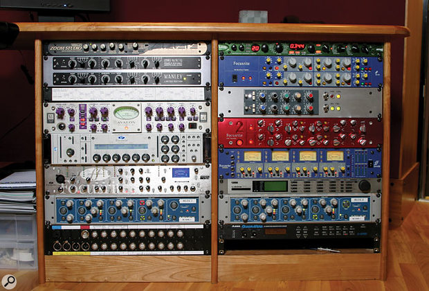 There's a more curious mix of budget and high-end in this rack, including Manley, Neve, Avalon and Focusrite EQs and voice channels (including the new Liquid Channel and Voicemaster Pro), and Zoom Studio effects, two Electrix MOFXs, a Line 6 Echoplex, and an old Alesis Quadraverb!