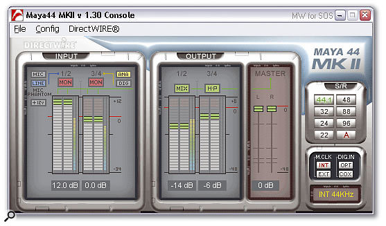 The Maya 44 MkII Console utility is straightforward and easy to use, yet provides a surprisingly versatile set of options.