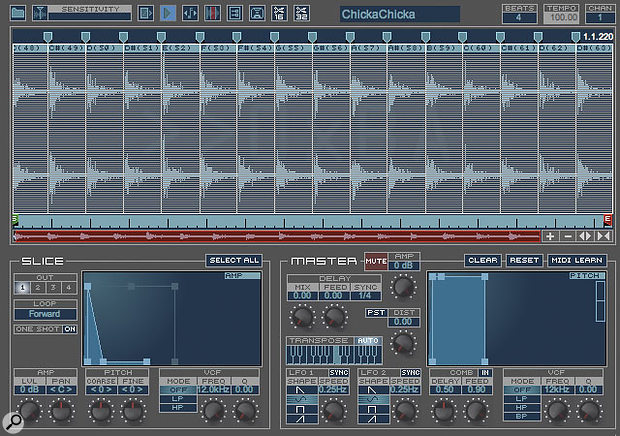If you're getting clicks during playback, or if there are obvious gaps between slices at slow tempos, then you can use Bitshift Audio Phatmatik Pro's amplitude envelopes to improve the situation by smoothly rounding off the end of each slice.