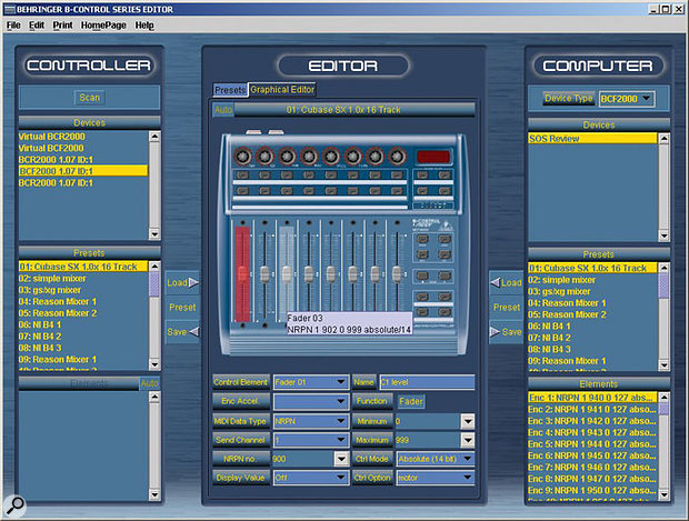 Behringer's free BC Edit software is a Java applet that'll run on any Java-equipped computer. Though currently a beta release, it offers great functionality and seems stable.