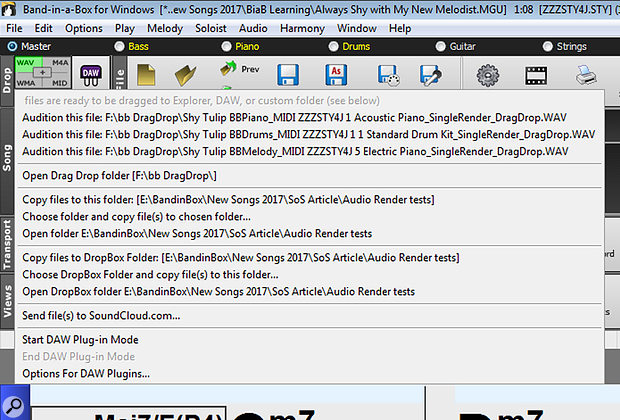Screen 1: BIAB's Master track, or any single track, can be dragged to the Drop Station at the upper left to export tracks to a  folder. The menu shown here is the file management and options window and includes sending audio directly to SoundCloud! The DAW Plugin button accesses the plug-in mode that shrinks the BIAB window for drag-and-drop action.