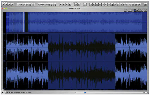The main waveform-editing screen, where regions are selected and markers placed. The complete file is shown at the top of the display, while selected sections can be zoomed in the lower area.