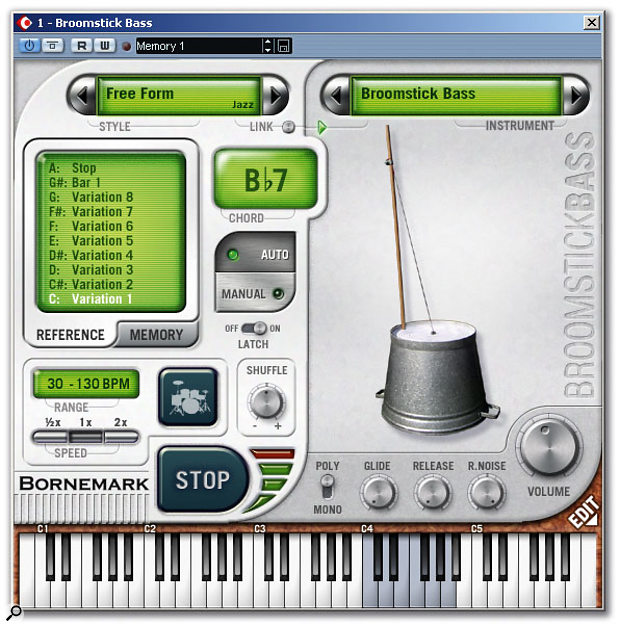Broomstick Bass in Auto mode with its namesake instrument selected. The Memory Tab at the top of the window allows 16 snapshots of the plug-in settings to be saved for later recall.