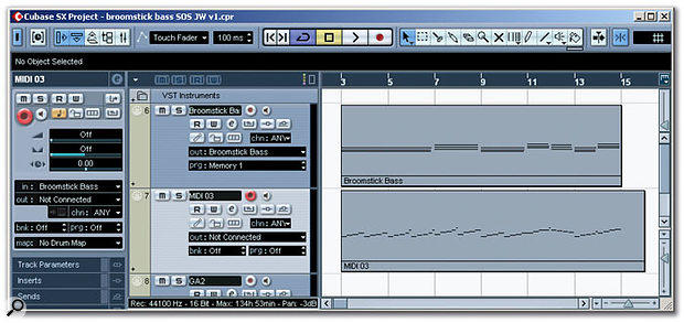 The MIDI output function allows the auto-generated bass line to be recorded (the lower track) from a sequence of chords (the upper track). This worked flawlessly in Cubase SX.