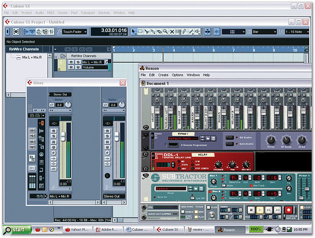 Cubase and Reason in full Rewire glory. Notice how Cubase automatically creates a Folder track for Rewire mixer channels in the Project window.