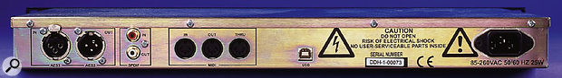The rear panel carries a pair of XLRs for stereo AES digital in and out, a pair of phono sockets for S/PDIF in and out, and a trio of MIDI sockets (In, Out, and Thru) for remote control. The USB socket, apparently, is for factory use only.