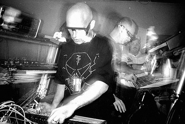 Orbital playing live on their first US tour in 1992, head-lights and Alesis sequencers already very much in evidence.