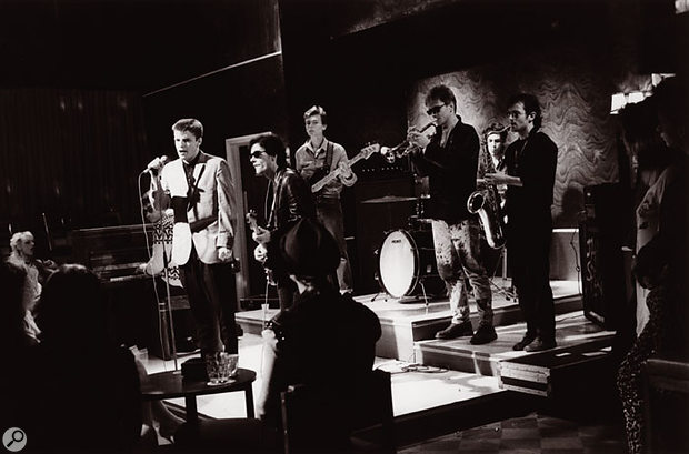 Madness performing on cult British sitcom The Young Ones on 19th August 1982. Left to right: Mike Barson, Suggs, Chris Foreman, Dan 'Woody' Woodgate, Chas Smash, Mark Bedford, Lee Thompson.