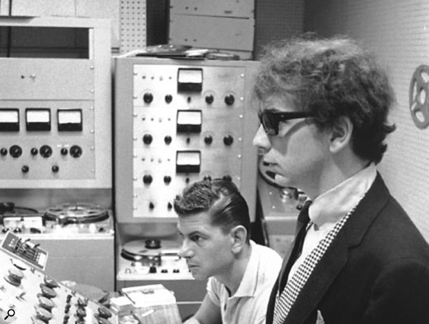 Phil Spector with engineer Larry Levine at the custom-made 12-channel mixer in the control room at Gold Star. In the background you can see the three-track Ampex 350 tape recorder on which all early 'Wall Of Sound' recordings were made.
