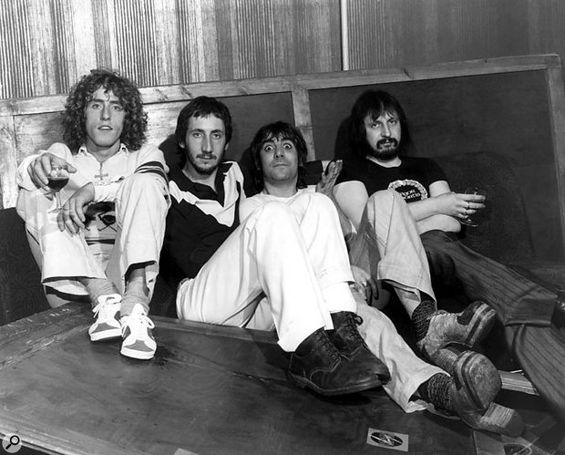 The Who, backstage at a BBC studio in London. From left: Roger Daltrey, Pete Townshend, Keith Moon and John Entwistle. This photo is believed to have been taken during an appearance on Top Of The Pops to promote 'Who Are You?'.
