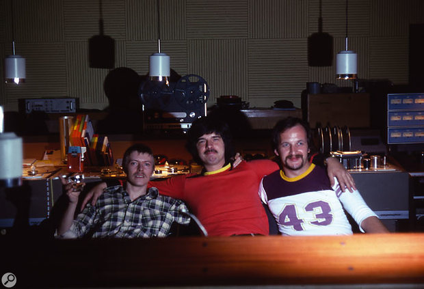 Bowie, Visconti and assistant engineer, Edu Meyer, taken in the control room of Hansa Studios. Photo by Edu Meyer's wife, Barbara.