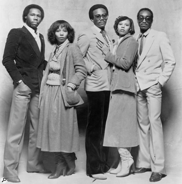 The Chic line-up around the time of the release of their second album C'est Chic. From left: Nile Rodgers, Luci Martin, Bernard Edwards, Alfa Andersen and Tony Thompson.
