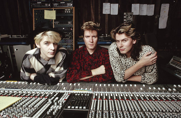 Nick Rhodes, Simon Le Bon and John Taylor (left to right) at AIR Montserrat during the recording of Seven And The Ragged Tiger.