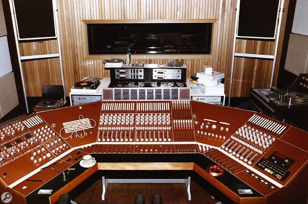 The Helios desk installed in Strawberry Studios for the recording of 10cc's third album was a custom wraparound design featuring 24 input channels (centre and right) plus monitoring and processing on the left-hand side.