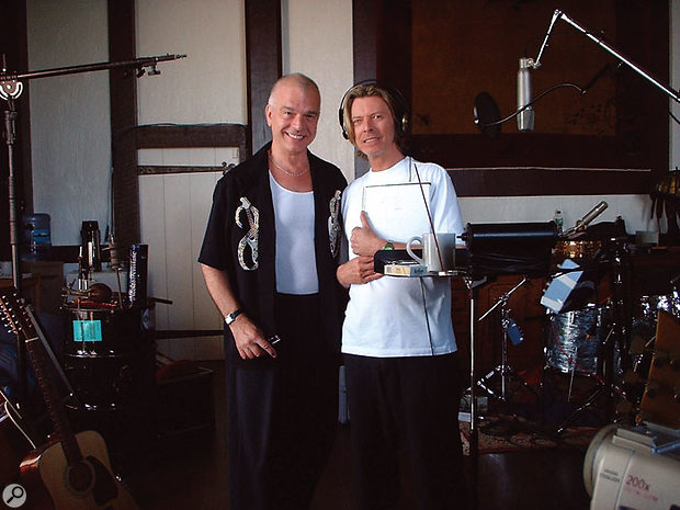 Visconti and Bowie during the making of the Heathen album at Allaire Studios in Shokan, NY. Photo taken by assistant engineer, Brandon Mason.