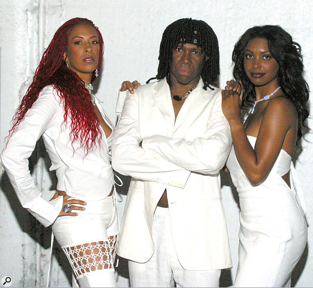 The current line-up of Chic, with Nile and singers Sylver Logan Sharp (left) and Jessica Wagner.