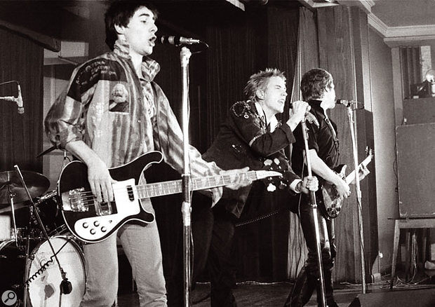 The original Sex Pistols line-up, with Glen Matlock (left) on bass.