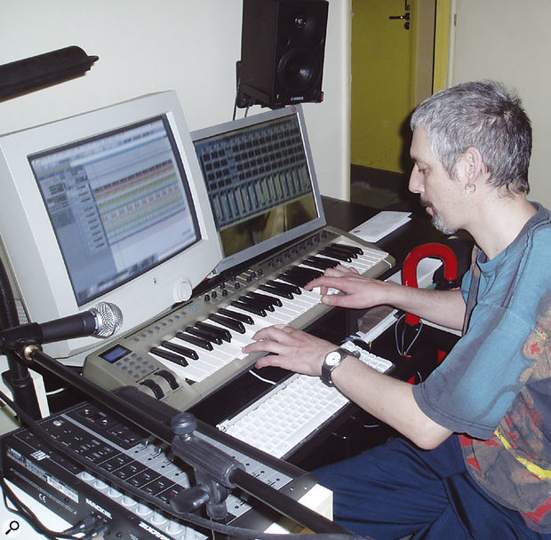 Ian Little with his present-day writing setup.
