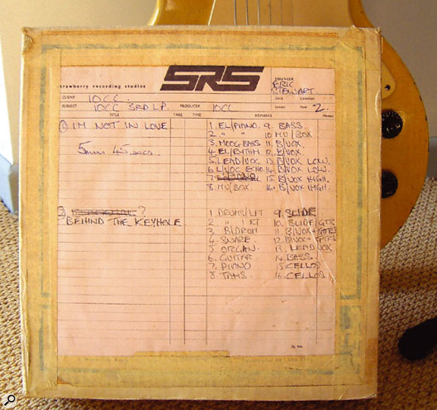 The original master tape of 'I'm Not In Love'.