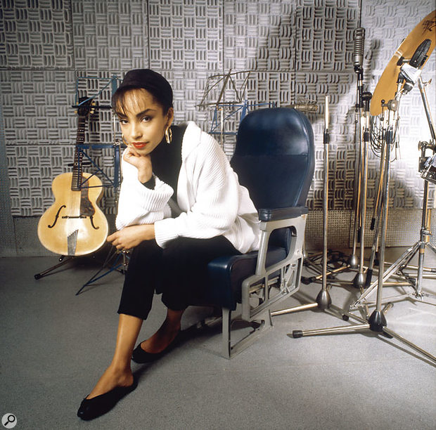 Sade, plus a selection of percussion, photographed in the Power Plant in 1985.