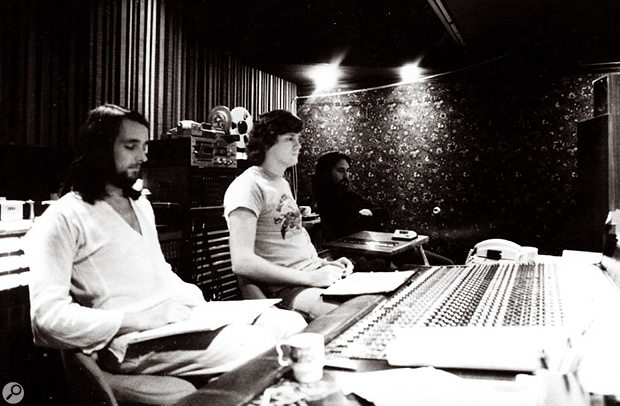 From left to right: Roger Hodgson, Peter Henderson and Rick Davies (rear) at the Village Recorder during the recording of the Breakfast In America album.