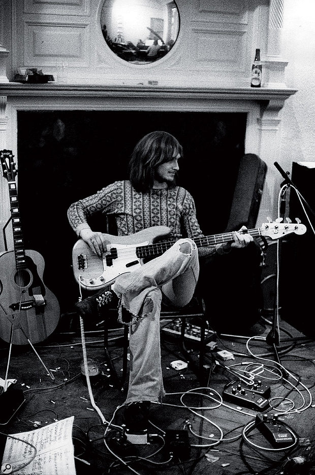 """""""At least in the old days you could be abit scruffy"""" — Mike Oldfield recording some bass.Photo: Redferns"""
