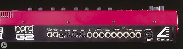 The rear panel of the G2 is also improved over that of the original Nord Modular — there are two extra audio inputs, a dedicated XLR mic input, and a MIDI Thru. Best of all, the interaction with the G2 editing software is now handled via the USB socket, rather than by the former Modular's confusing second pair of five-pin MIDI connections.