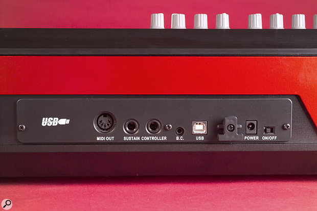 The rear panel keeps it simple, with just MIDI Out, USB, Sustain pedal and footswitch connectors, and the very small power switch, although there is also the breath-controller jack, seldom seen these days.