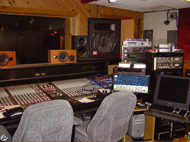 Studio A's control room with Amek G2520 console and the JBL PA speakers used for loud monitoring.