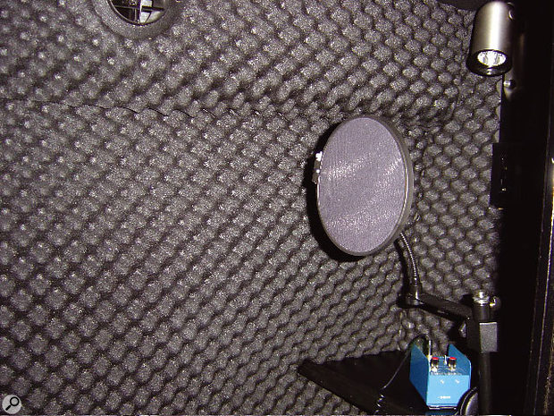 The interior of the tour bus vocal booth.