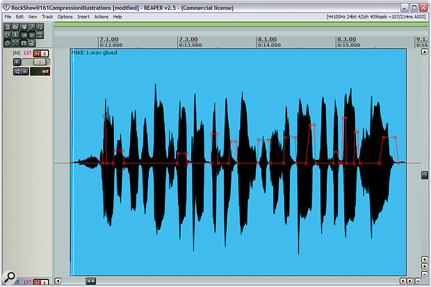 Compression is usually not enough to deliver the kind of up-front lead‑vocal sound that many modern styles demand, so rather than trying to push your vocal compressor too hard, finesse any final balance tweaks using careful level automation. Here you can see some fairly typical level automation for the lead‑vocal phrase featured in the audio files that accompany this article on the SOS site.