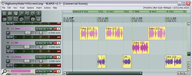 Here you can see a single lead vocal multed across three tracks to allow for different vocal processing and levels for different sections of a song. In some cases, multing tracks can allow you to avoid compressing at all, but even when it doesn't, it can still make it easier to improve your compression results, because you can better adapt each multed track's compression to the context of its section of the song.