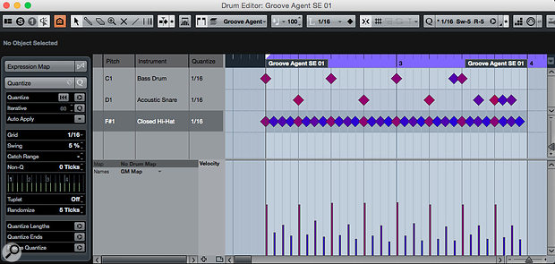 Cubase's Drum Editor, with a simple drum pattern that's been 'humanised' via a little velocity editing and some subtle timing tweaks via the Quantize panel.