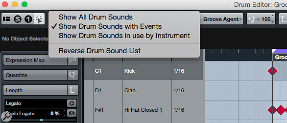 If your drum pattern only uses a few sounds, the 'Show Drum Sounds with Events' option can tidy up the Drum Editor display considerably!