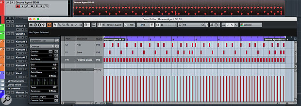 My initial programmed drum pattern — not exactly full of 'feel'!