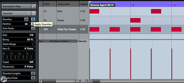 The Drum Editor's Quantise Panel can be used to add a subtle groove to the programmed pattern.