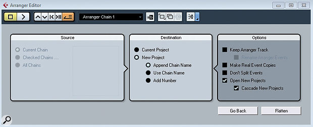 The Arranger Editor Options dialogue allows you to create a new project when you Flatten your arrangement.