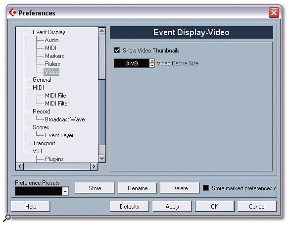 The Event Display-Video page in the Preferences window lets you disable the drawing of thumbnails on Video Events to save your computer's resources, and also to set the size of the video cache memory used to store the thumbnails, saving on disk access.