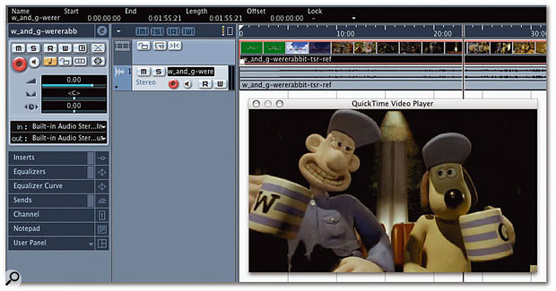 Here you can see a Video and an Audio Event on the Project window, with Cubase's built-in Video Device Player window open. The parameters available in the Event Infoline are for the selected Video Event, and you'll notice that they're pretty much identical to the parameters you would expect to see for an Audio Event.