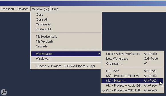 Workspaces can be selected via the Windows menu.