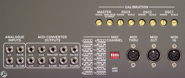 Safely tucked away at the back of the S1 MkII, in addition to the CV inputs, the three MIDI ports and the CV output jacks from the MIDI-CV converter, are various 'set and forget' switches, such as the calibration pots for the Oscillators, Master Scale, and main CV input, and the four-way DIP switch with which the receive channel for the built-in MIDI interface is adjusted. Thoughfully, the 16 possible combinations are silk-screened onto the panel, so you don't have to go hunting through the manual if you ever want to change the main MIDI receive channel.
