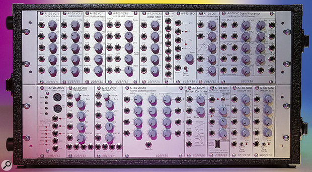 The Doepfer modular system supplied for this review. The Multiple and LFO modules in the top row of the system and the two VCOs and two ADSRs in the bottom row have already been reviewed by SOS, but were supplied so that we had a self-contained modular system to work with.