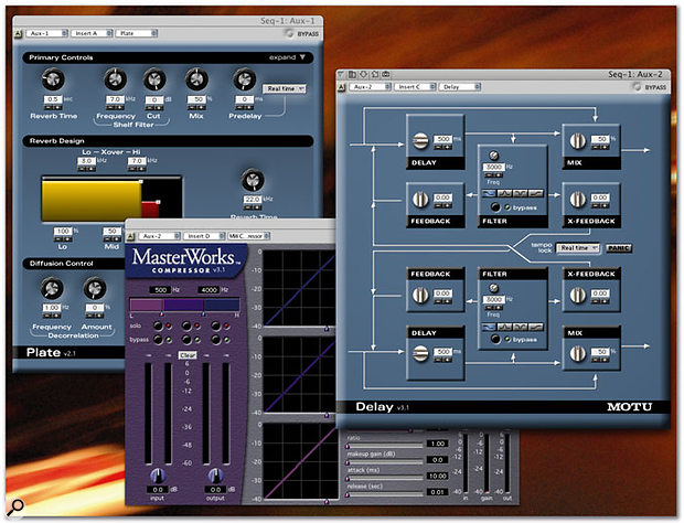 DP's bundled plug-ins are all in the MOTU Audio System (MAS) format, and there are some good ones on offer. Shown here are the Plate reverb, the very flexible Delay, and the multi-band Masterworks Compressor.