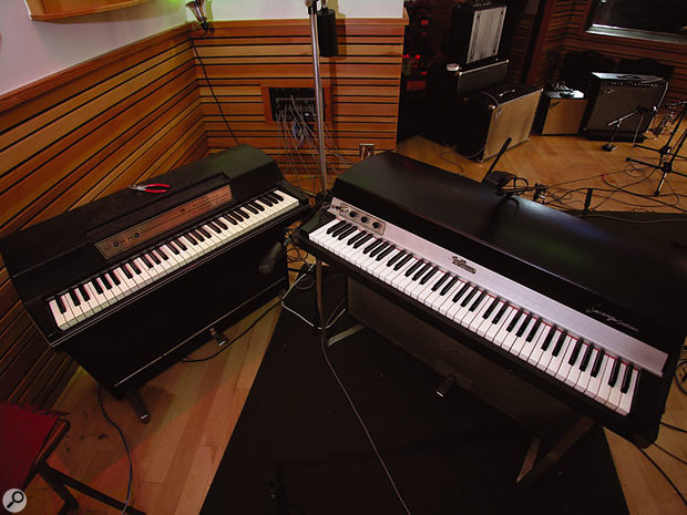 Wurlitzer and Fender Rhodes electric pianos in the main live area.