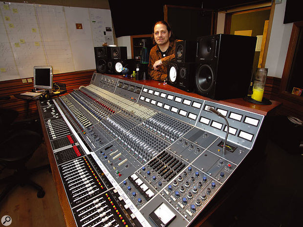 Engineer and studio manager Adam Mosely at The Boat's vintage Neve desk.
