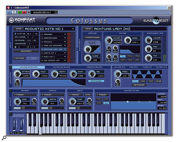 Kompakt's user interface maintains its East West cool blue colour scheme.