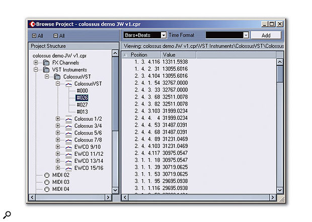 Automation data can also be edited via Cubase SX's Project Browser.