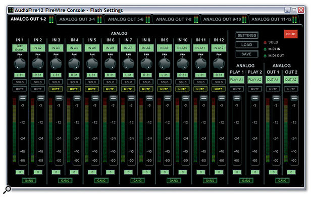 The Audiofire 12 Console utility is by far the smartest from Echo to date, and provides 14-in/two-out mixers for each stereo output so you can set up multiple complex monitor mixes.